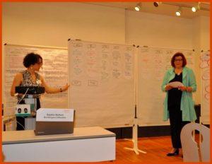 Foto v. l. n. r.: Saskia Bellem, Leiterin der Stabsstelle und Pressesprecherin, und Christa Kuhn, Stellvertretende Diözesanleiterin, beim Erfahrungsaustausch der Diözesanverbänden